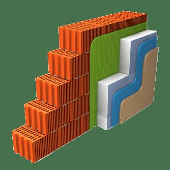 Aufbau einer Wand mit Hohlschicht, zweischaliges Mauerwerk