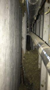 Biagosanlage nachträglich dämmen mit EPS Dämmgranulat. Steinwolle abgesackt.