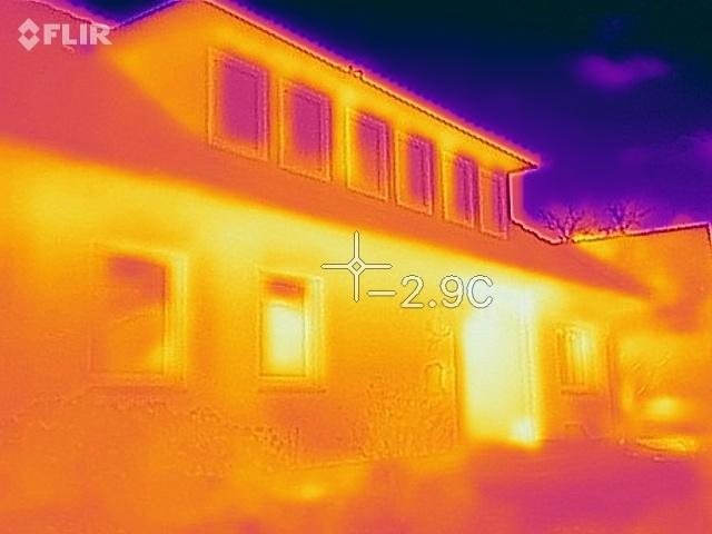 Thermografie der Fassade (Nur bis 10° Außentemperatur möglich)